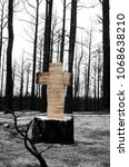 Small photo of Tree stump cut with chainsaw into the shape of a cross amidst forest fire affected area.
