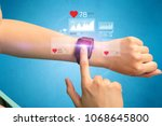 female hand with smartwatch and ... | Shutterstock . vector #1068645800