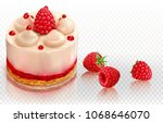 creamy cake is decorated with...   Shutterstock .eps vector #1068646070