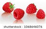 raspberries on a white... | Shutterstock .eps vector #1068646076