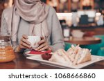 an arab girl in with a... | Shutterstock . vector #1068666860