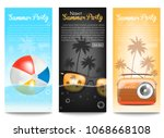 3 banners summer party | Shutterstock .eps vector #1068668108