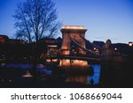 night view of a famous budapest ... | Shutterstock . vector #1068669044
