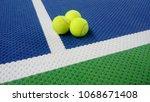 tennis balls on an indoor... | Shutterstock . vector #1068671408