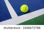 tennis ball on an indoor tennis ... | Shutterstock . vector #1068672788