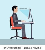 infographics correct posture at ... | Shutterstock . vector #1068675266