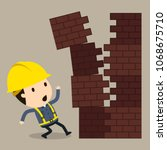 collapse of a brick  vector... | Shutterstock .eps vector #1068675710