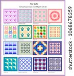 16 small traditional quilt... | Shutterstock . vector #1068678359
