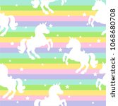 seamless pattern with unicorns  ... | Shutterstock .eps vector #1068680708