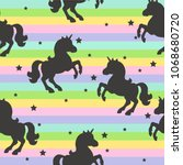 seamless pattern with unicorns  ... | Shutterstock .eps vector #1068680720
