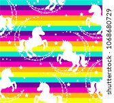 seamless pattern with unicorns  ... | Shutterstock .eps vector #1068680729
