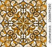 illustration in stained glass... | Shutterstock .eps vector #1068694280