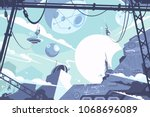 space colony with rockets and... | Shutterstock .eps vector #1068696089