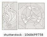 set of outline illustrations of ... | Shutterstock .eps vector #1068699758