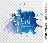 beautiful blue watercolor... | Shutterstock .eps vector #1068701918