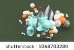 blue vintage motorcyclist...   Shutterstock . vector #1068703280