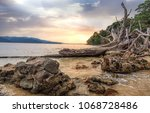 rocky sea beach at chidiya tapu ... | Shutterstock . vector #1068728486