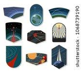 set of space emblems  chevrons  ... | Shutterstock .eps vector #1068739190
