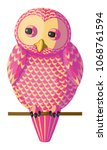funny curious pink yellow owl...   Shutterstock .eps vector #1068761594