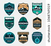 hiking expedition vintage... | Shutterstock . vector #1068769319
