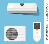 air conditioner system set... | Shutterstock .eps vector #1068769970