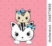 cute cats on valentine hearts...   Shutterstock .eps vector #1068773858
