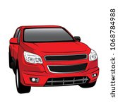 red pickup trucks  | Shutterstock .eps vector #1068784988
