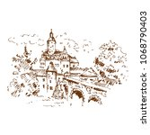 medieval castle sketch. hand...   Shutterstock .eps vector #1068790403