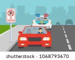 traffic police car honking to a ... | Shutterstock .eps vector #1068793670