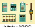 Cute calculators, adding machine, abacus and watch