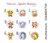 watercolor alphabet cute... | Shutterstock . vector #1068804734