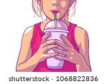 color illustration of young... | Shutterstock .eps vector #1068822836