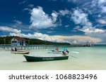 motor boat with tourist on the... | Shutterstock . vector #1068823496