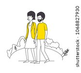 couple lovers with yellow... | Shutterstock .eps vector #1068827930
