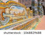 june 14  2017. sunny cloister... | Shutterstock . vector #1068829688