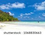 tropical beach. praslin island  ... | Shutterstock . vector #1068830663