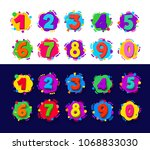 set of colored cartoon numbers. ... | Shutterstock .eps vector #1068833030
