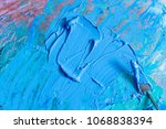 oil blue and pink colors with... | Shutterstock . vector #1068838394