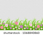 Flowers And Grass Border  Pink...