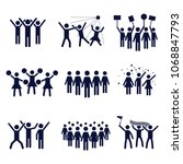 crowd vector icon set design ... | Shutterstock .eps vector #1068847793