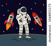 astronaut with spaceship... | Shutterstock .eps vector #1068852173