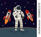 astronaut with spaceship... | Shutterstock .eps vector #1068852173