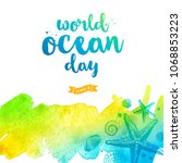 world oceans day illustration   ... | Shutterstock .eps vector #1068853223
