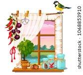 the window overlooking the... | Shutterstock .eps vector #1068853910