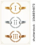 set of rank emblems   gold ... | Shutterstock .eps vector #1068854873