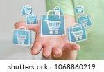 businessman on blurred... | Shutterstock . vector #1068860219