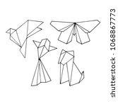 origami animals illustration.... | Shutterstock . vector #1068867773