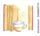 hand drawn watercolor open book ... | Shutterstock . vector #1068869774