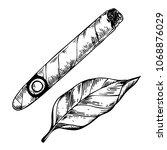 Cigar And Tobacco Leaf...