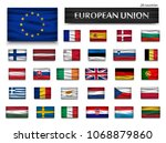 flags of european union and... | Shutterstock .eps vector #1068879860